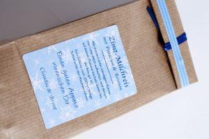 Zimt-Milchreis Mischung - Anleitung auf Klebe-Etiketten Snowflakes 55 x 85 mm