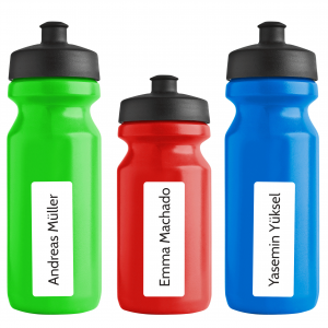 spülmaschinenfeste Namensetiketten für Wasserflaschen 70 x 25 mm