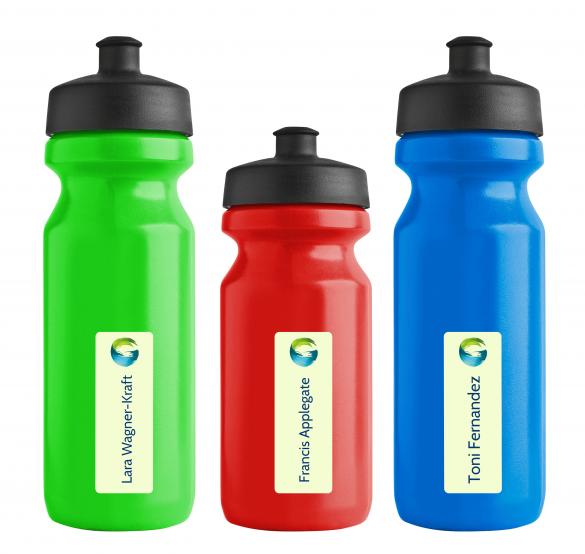 spülmaschinenfeste Namensetiketten für Wasserflaschen