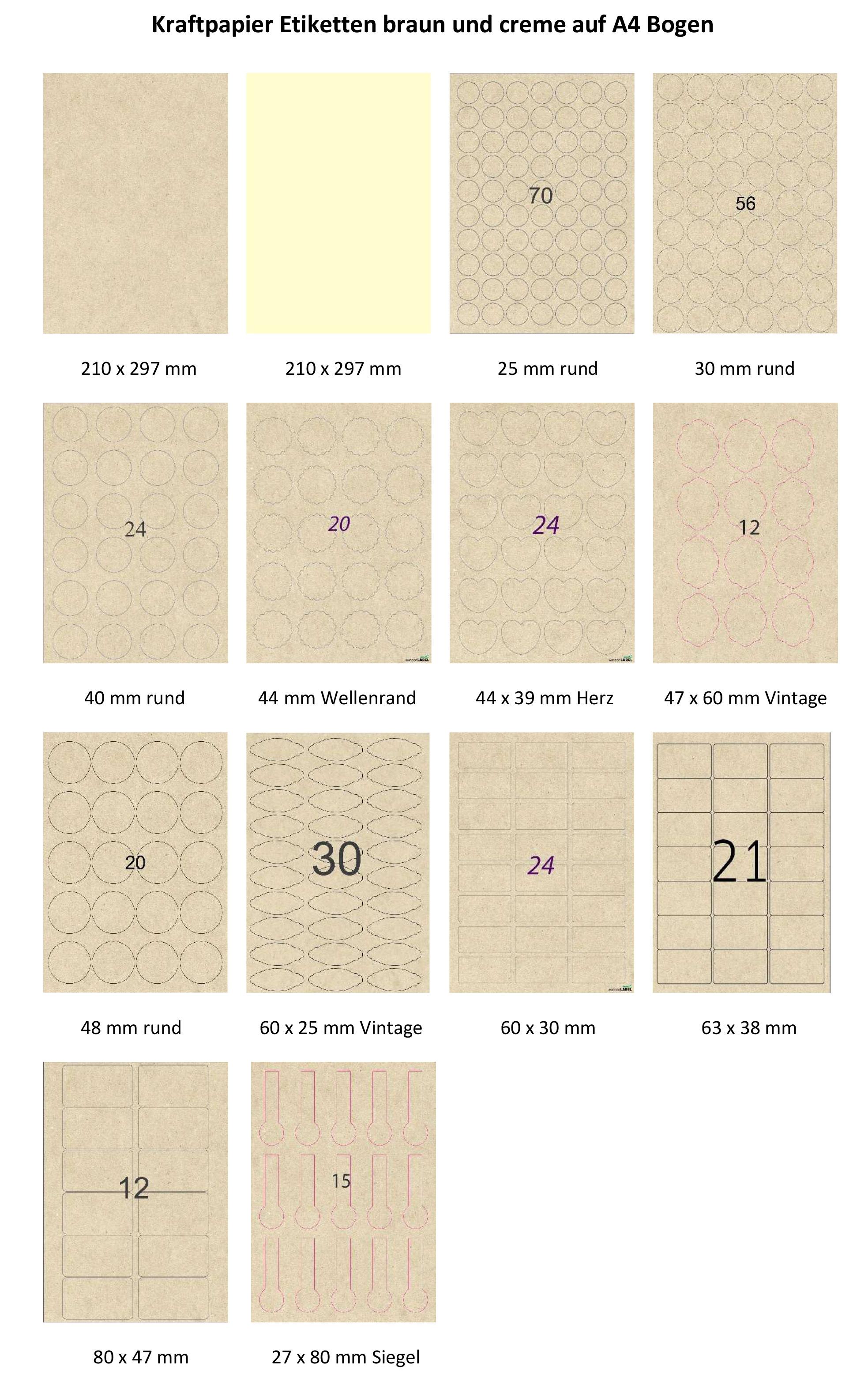 Kraftpapier Etiketten braun und creme auf A4 Bogen Standardformate