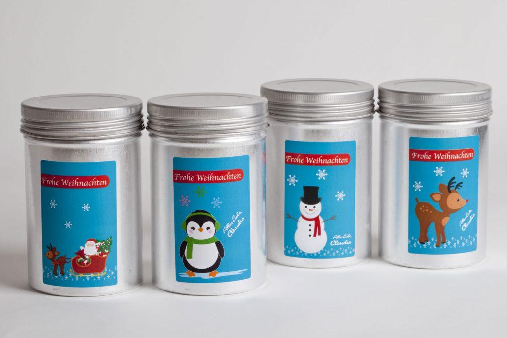 personalisierte Weihnachtsaufkleber mit Rudolf, Frosty, Santa und Pinguin von watsonlabel