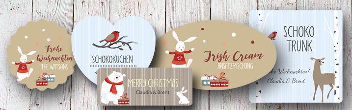 Weihnachtsetiketten Design Serie Sweet Christmas mit niedlichen Vögeln oder Hasen von watsonlabel