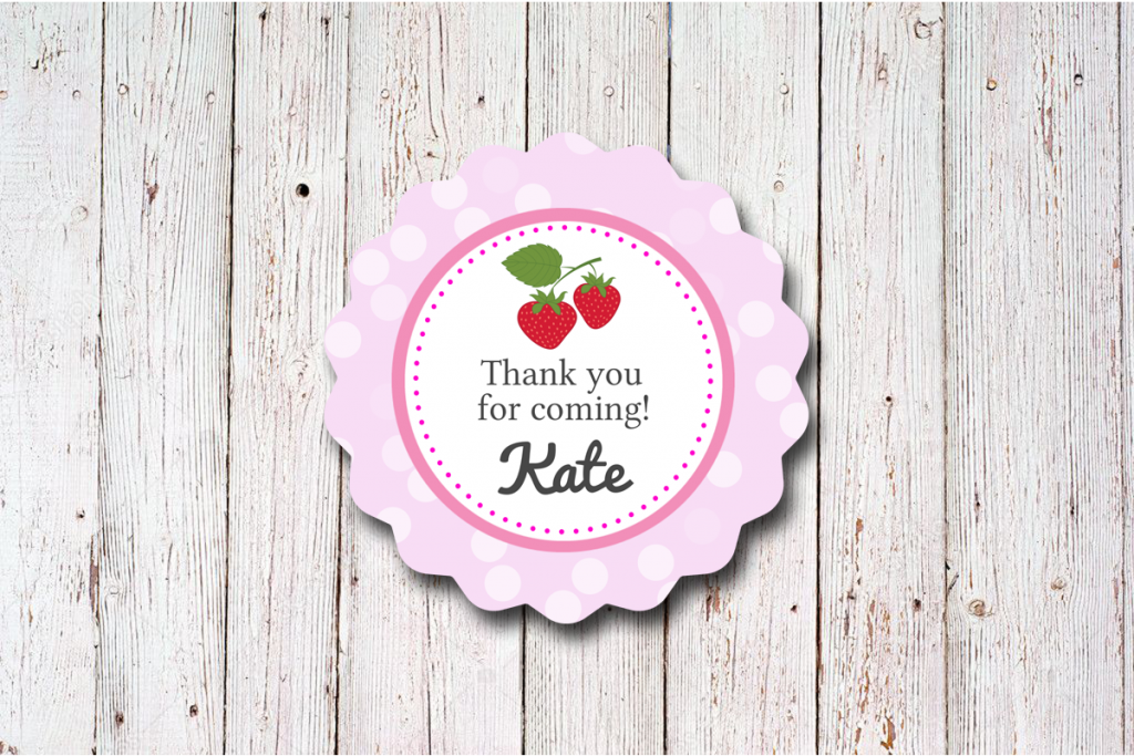 Etiketten zur Erdbeer Hochzeit mit Gäste Namen