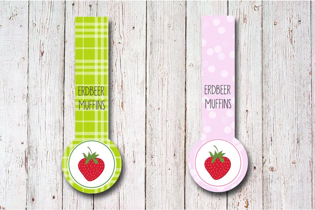 Gewährverschluss Etiketten Erdbeere 27 x 80 mm gruen und rosa