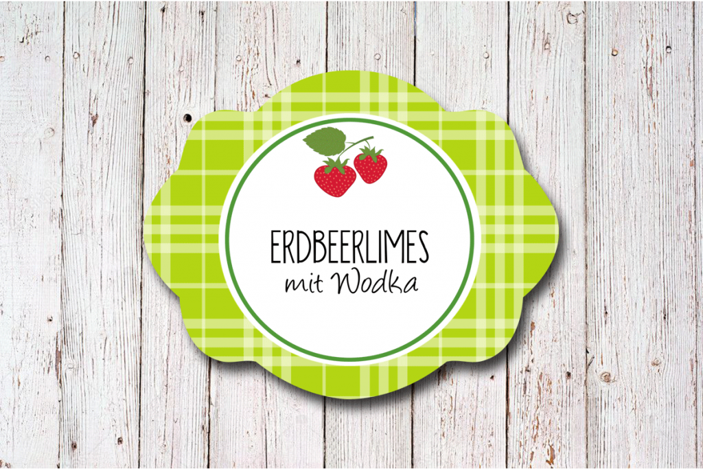 Erdbeerlimes Etikett der Designserie Sweet Fruits 60 x 47 mm gruen  von watsonlabel